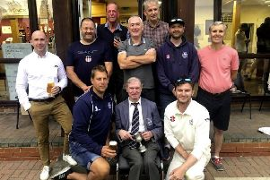 Hemel Hempstead Town CC's legendary second team scorer Graham Nixon, front row, middle, with Hemel 2nds captains down the years, back, from left, Paul Thompson, Caradoc Bevan, Brendan Fowler, Ian Colmer, Mike Oakley, Neil Morgan, Ian Potton, Graham Clarky and Tom Waterton.