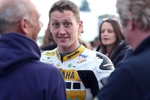 Dean Harrison pictured before setting off on his lap in the Lightweight session on Friday evening. Picture: Stephen Davison/Pacemaker Press.
