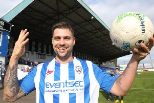 James McLaughlin celebrates with the match ball following his four-goal haul against Dungannon Swifts
