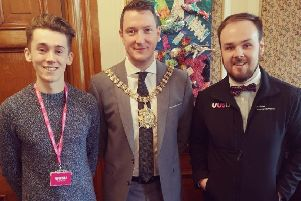 Andrew (UUSU President) and Owen (VP Coleraine) met with Lord Mayor of Belfast, Cllr John Finucane ahead of today's demonstration.
