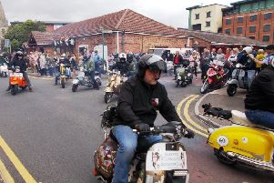 Riders set off on a tour of the town for the fifth Happy Chappy ride out. EMN-190916-172755001