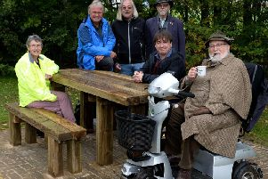 The unveiling of Buckingham's first wheelchair accessible picnic bench