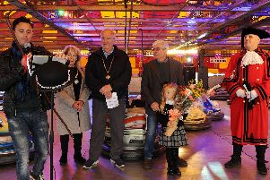 The opening of the Buckingham Charter Fair - first weekend. From the left, Buckingham bard Dean Jones, mayor Cllr Mark Cole, mayoress Alexandra Cole, fair owner Marshall Nichols and town crier Russell Cross