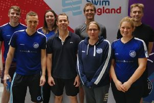 The Blue Fin Masters squad in Sheffield. From left, back - Mike Procter, Hannah Mansfield, Ryan Steward, Jason Preston; front - Andy Smith, David Jardine, Karen Dela, Alison McGregor EMN-191030-160455002