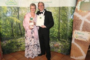 Janet Rounce and Christopher Rounce receive two prizes at the 2019 Good Funeral Awards