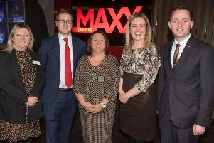 Paul John Anderson, Director Omniplex NI who welcomed Derry City and Strabane Mayor Michaela Boyle, Karen Mullan MLA, Councillor Mary Durkan and  Gary Middleton MLA to the Strand Road Traders Investment event in conjunction with Holiday Inn Express. Picture Martin McKeown.