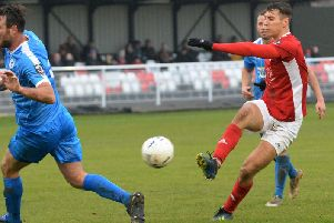 Brackley Town's Matt Lowe fires in another shot against Chester. Photo: Jake McNulty