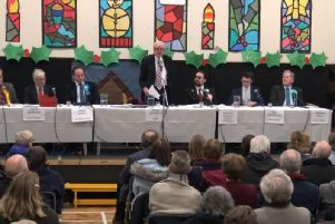 The Haddenham hustings - pictured from left are Lib Dem candidate Stephen Dorrell, Labour candidate David Morgan, Conservative candidate Greg Smith, chairman Professor Sir Roderick Floud, English Democrat candidate Antonio Vitiello, Independent candidate Ned Thompson and Brexit Party candidate Andrew Bell
