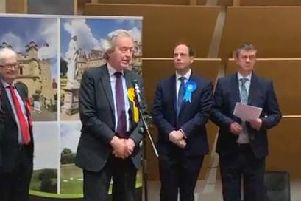Lib Dem MP Stephen Dorrell makes his speech following the election count
