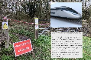 Calvert Jubilee Wildlife Trust Nature Reserve closed after HS2 work began'(Inset: file image of HS2 train and exert from Wildlife Trusts letter to the PM)