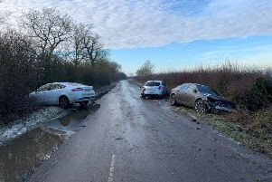 Aftermath of the accident in Quainton on Monday morning