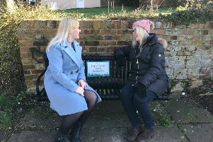 AVDC Councillor Julie Ward talking on the 'Happy to Chat' bench