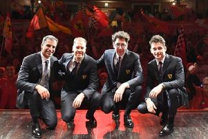 Marc Gene (left) with Sebastian Vettel, Mattia Binotto and Charles Leclerc on Tuesday (Photo Ferrari Media) EMN-201202-171107002