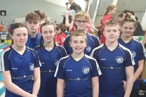 Bicester's juniors excelled on the county stage. From left, back - Ethan Cavill, Tom Henley, Grace Bradney; front - Holly McLellan, Yasmin Preston, Josh Scrivener, Will Jones EMN-200219-151036002