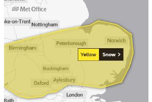 Met office map showing yellow warning of snow across Bucks