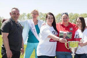 Danny Martone Memorial Day. held at Aylesbury FC - Representatives from Cruse Bereavement Care are pictured with Danny's daughters