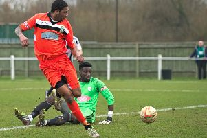 Bruno Brito wearing the colours of Aylesbury United last season