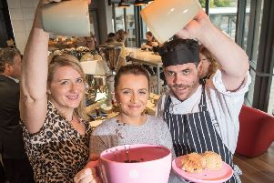 Julie Faherty, JJ Darboven, Shelley McLaughlin, General Manager Primrose Restaurant, and Colman O'Driscoll, Catering and Hospitality Manager at North West Regional College (Picture by Martin McKeown).