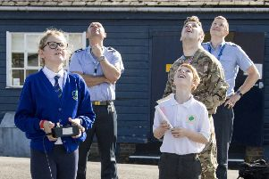 Oakley C of E School and Brill C of E School visited RAF Halton this week as part of the British Aerospace Initiative to introduce Year 5 to the principles and joy of flight and sciences. Photos by Luka Waycott.