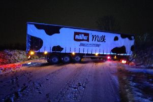The snowy weather led to this milk lorry getting stuck on the A421 this morning