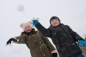 Hundreds of schoolchildren including siblings Lauren and Max Bace are having a day off due to the snow