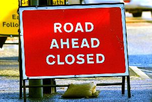 Road closure stock image
