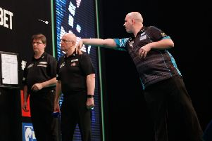 Rob Cross in action during his victory over James Wade. Picture courtesy Steve Welsh/PDC