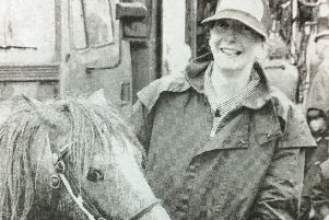 Claire Murphy and pony Grey Bones at Dromore Horse Fair in 1995.