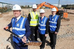 Douglas Dawson, Chief Executive Officer for the Liberty Industries Group, Ed Peel, Development Manager for  Stoford Developments, Matt Western, MP for Warwick & Leamington, Anthony Blackwell, Chief Technology Officer for Liberty Engineering.