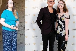 Eleanor Brown left before her weight loss and right with Joe Swash celebrating her weight loss