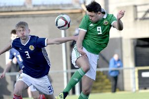 Portadown's Callum Ferris on duty for Northern Ireland Schoolboys' Centenary Shield-winning under 18s.