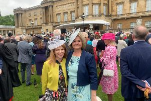 Tori Roddy and Andrea McCubbin at a royal garden party to celebrate Buckinghamshire Mind winning a Queen's Award