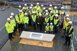 A key milestone in the construction of a new state-of-the-art primary and nursery school in Hailsham has been celebrated with a traditional 'topping out' ceremony.''Main contractor Morgan Sindall Construction marked the milestone with school staff, and parents, governors and students from Hailsham Community College Academy Trust. SUS-190617-121736001
