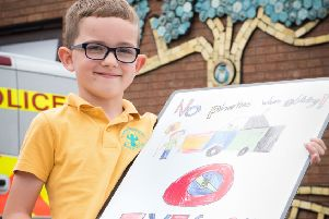 (1 of 3) Winners of driver awareness poster competition - Pictured is Ashmead School's Harry Martin (7) PNL-190618-221324009