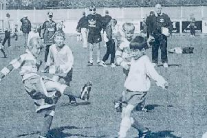 Ellen White (r), showing the boys how it's done at a football open day back in 1997