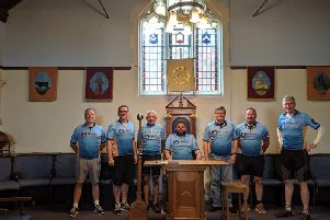 The Freemasons cycling team pictured inside the Aylesbury masonic centre