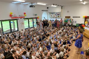 288 schoolchildren attempted to break a Guinness world record for the most children to ever sing a nursery rhyme relay