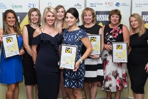 Horsham district winners with Amy Gudgeon from 3D Recruit at Sussex Teacher of the Year Awards. Johnston Press (Sussex Newspapers) are welcome to use any images within their newspaper group. Copyright Simon Dolby sdolby@InspireSchools.org.uk SUS-190723-095206001