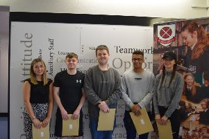 All smiles from these Cullybackey College students who received their A Level results this week.