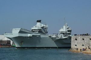 HMS Queen Elizabeth leaving Portsmouth earlier this year. Picture: Byron Melton