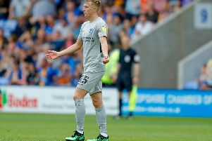 Ross McCrorie receives a red card on his Pompey debut in the 1-0 opening-day defeat at Shrewsbury. Picture: Simon Davies/ProSportsImages