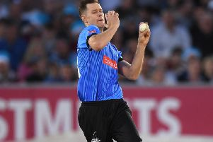Jason Behrendorff on his Sussex debut / Picture by Getty Images