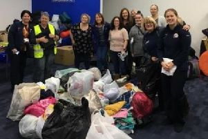 Donations of items and bags at last year's Rucksack Project Portsmouth event.