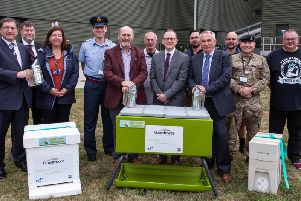 The first bees and hives were welcomed at Greatmoor today, 6 September, by Bill Chapple OBE, Cabinet Member for Planning and Environment at Buckinghamshire County Council and Steve Brown, Operations Director GE+ at FCC Environment.