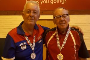 Brian Hill with doubles partner Peter Radford.