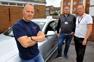 Andy Hall and his fellow taxi drivers angry about prohibitive licence restrictions in Worthing. Pic Steve Robards SR12091901 SUS-191209-192831001