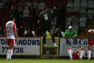 Off the mark! Harry Smith jumps for joy after his first Cobblers goal. Picture: Harry Smith