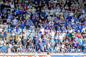 Pompey fans in the away end at Adams Park