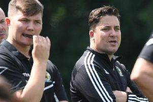 Horsham manager Dominic Di Paola (right) with his coaching staff. Picture by Derek Martin