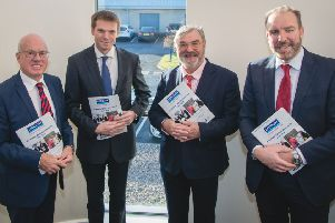 )From left) LEDCOM's outgoing chair Henry Fletcher, Simon McDowell, MD of Kilwaughter Minerals Ltd, new chair, Dr Norman Apsley,  and CEO Ken Nelson at the company's AGM at Willowbank Business Centre in Larne.